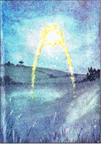 Rahibenin geçtiği yolda beliren ışığın, şahitlere göre yapılan temsili resmi ...